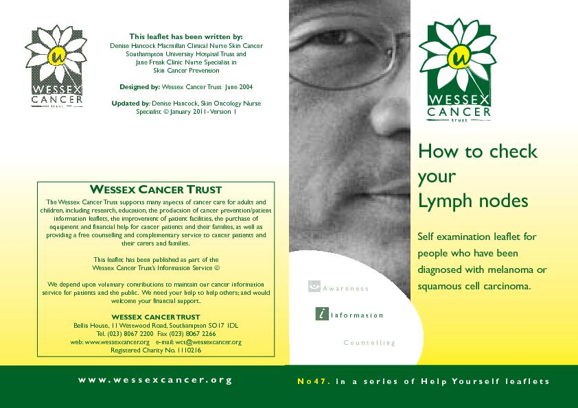 How to checkyour Lymph nodesSelf examination leaflet for people who ha
