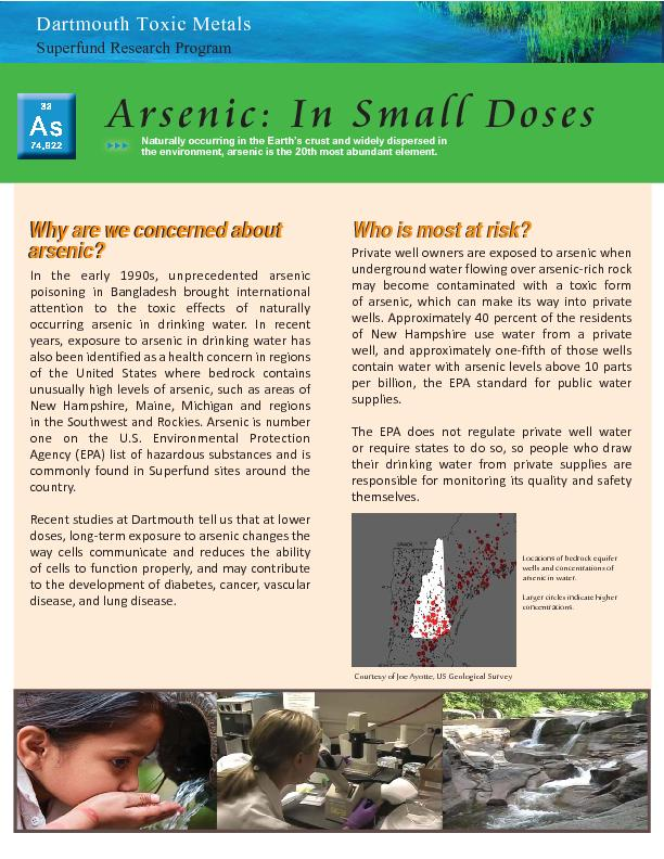 Who is most at risk?Why are we concerned about arsenic?