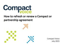 How to refresh or renew a Compact or partnership agreement