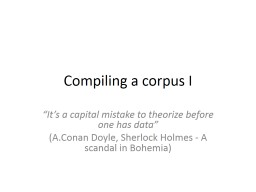 Compiling a corpus I