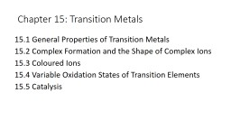 Chapter 15: Transition Metals PowerPoint PPT Presentation