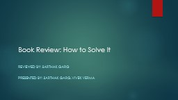 Book Review: How to Solve It