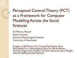 Perceptual Control Theory PowerPoint PPT Presentation