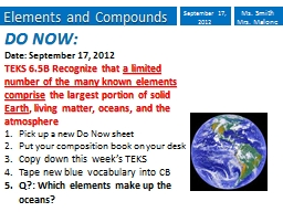Elements and Compounds PowerPoint PPT Presentation