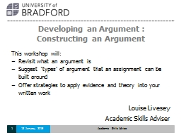 Developing an Argument :