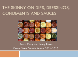 The Skinny on Dips, Dressings, Condiments and Sauces