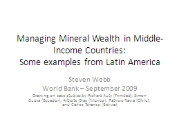 Managing Mineral Wealth in Middle-Income Countries: