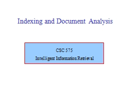 Indexing and Document Analysis
