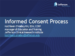 Informed Consent Process PowerPoint PPT Presentation