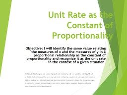 Unit Rate as the Constant of Proportionality PowerPoint PPT Presentation