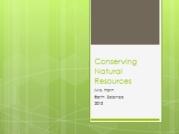 Conserving Natural Resources PowerPoint PPT Presentation