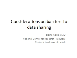 Considerations on barriers to data sharing PowerPoint PPT Presentation