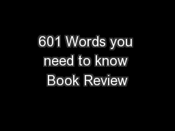 601 Words you need to know Book Review