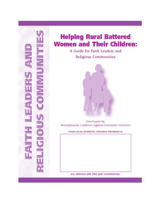 Battered Women andTheir Children:A Guide for Faith Leaders and Religio
