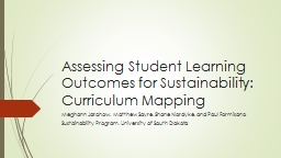 Assessing Student Learning Outcomes for Sustainability:  Cu