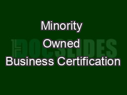 Minority Owned Business Certification