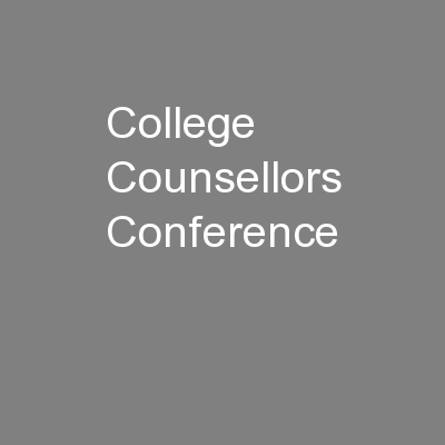 College Counsellors Conference