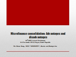 Microfinance consolidation: Advantages and disadvantages