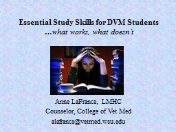 Essential Study Skills for DVM Students PowerPoint PPT Presentation