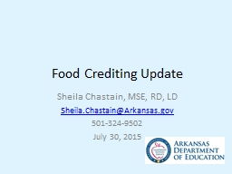 Food Crediting Update PowerPoint PPT Presentation