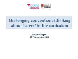 Challenging conventional thinking about 'career' in the PowerPoint PPT Presentation