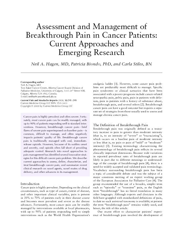 Assessment and Management of Breakthrough Pain in Cancer Patients: Cur