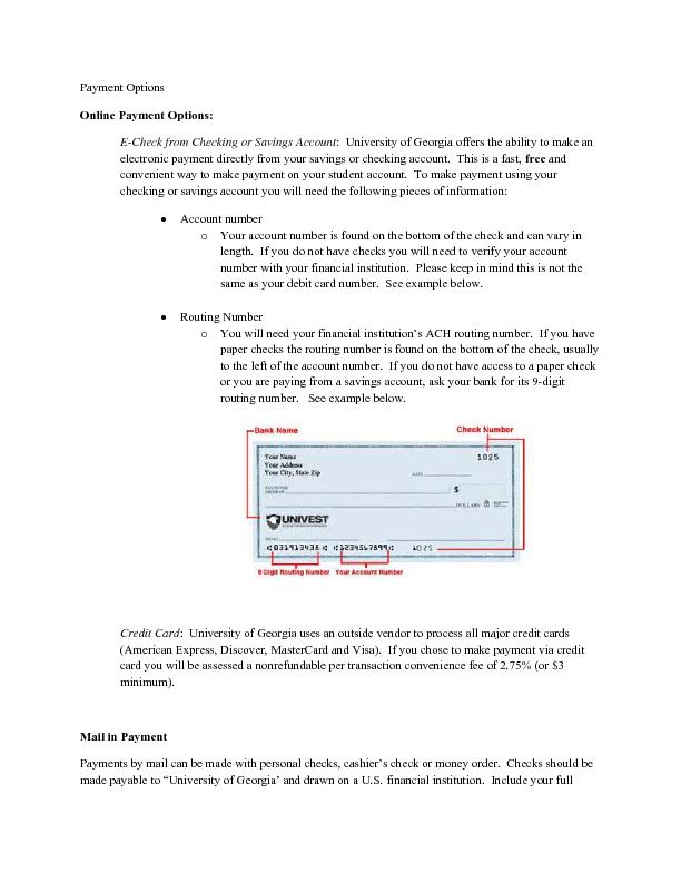 Payment Options Online Payment Options: :  University of Georgia offer PowerPoint PPT Presentation