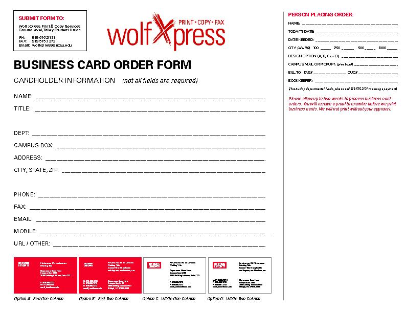 Business card powerpoint presentation ppt docslides for Business card order form