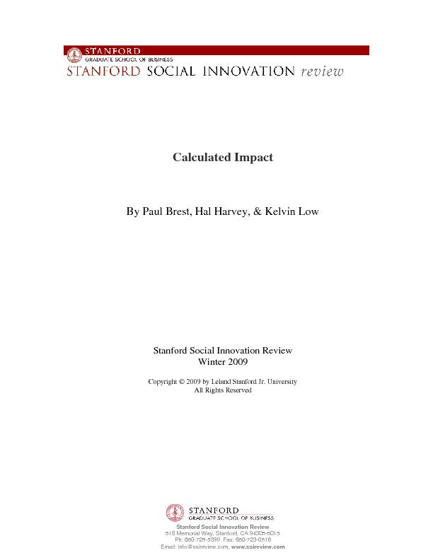 Stanford Social Innovation Review 518 Memorial Way, Stanford, CA 94305