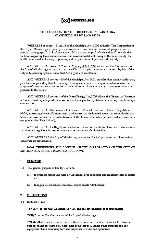 THE CORPORATION OF THE CITY OF MISSISSAUGACLOTHESLINES BYLAW 197 ...