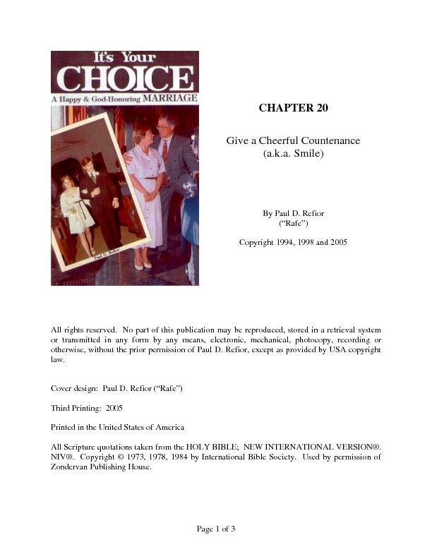 Page 1 of 3 CHAPTER 20 Give a Cheerful Countenance (a.k.a. Smile)By Pa