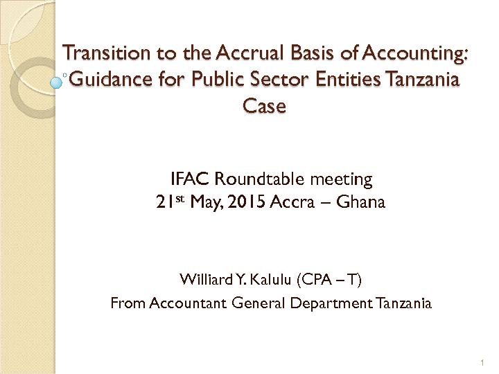 Transition to the Accrual Basis of Accounting: