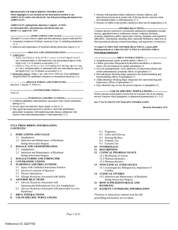 Page 1 of HIGHLIGHTS OF PRESCRIBING INFORMATION These highlights do no