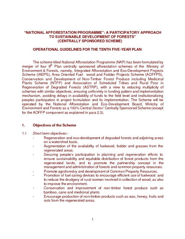 """""""NATIONAL AFFORESTATION PROGRAMME"""": A PARTICIPATORY APPROAC"""
