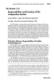 Responsibilities and Functions of the Independent Auditor  AU Section  Responsibilities and Functions of the Independent Auditor Source SAS No