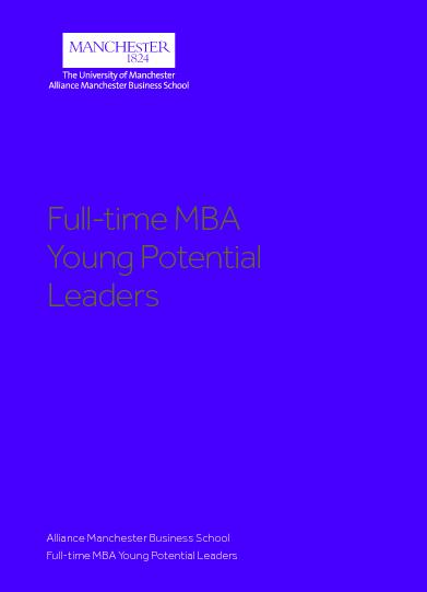 Alliance Manchester Business SchoolFull-time MBA Young Potential Leade
