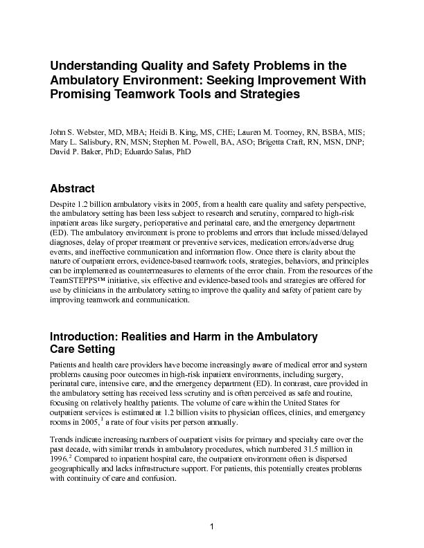 Understanding Quality and Safety Problems in the Ambulatory Environmen