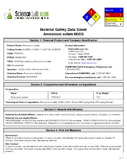 Material Safety Data SheetAmmonium sulfate MSDS