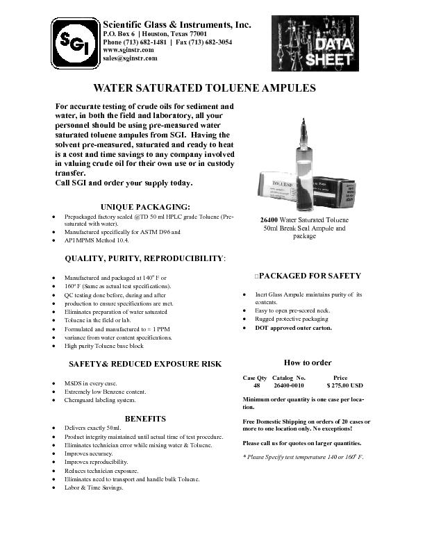 For accurate testing of crude oils for sediment and