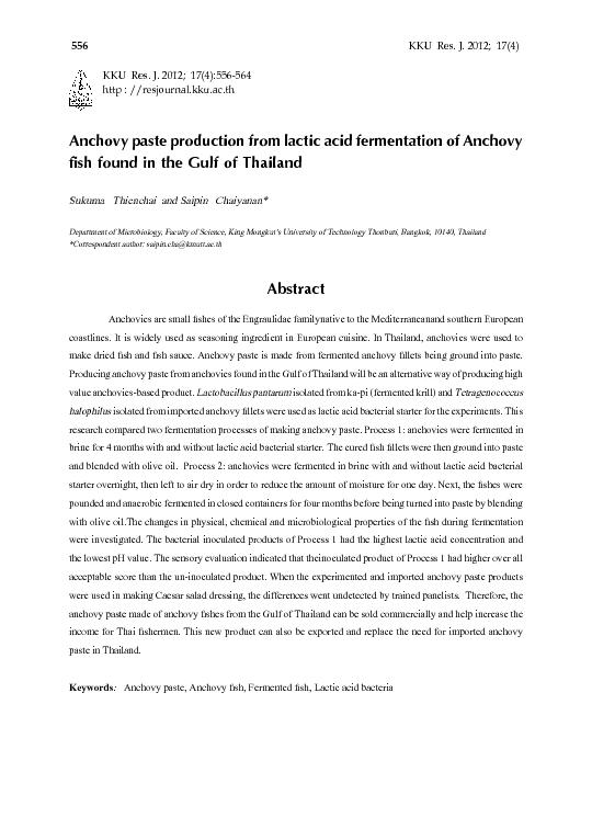 Anchovy paste production from lactic acid fermentation of Anchovy  ...