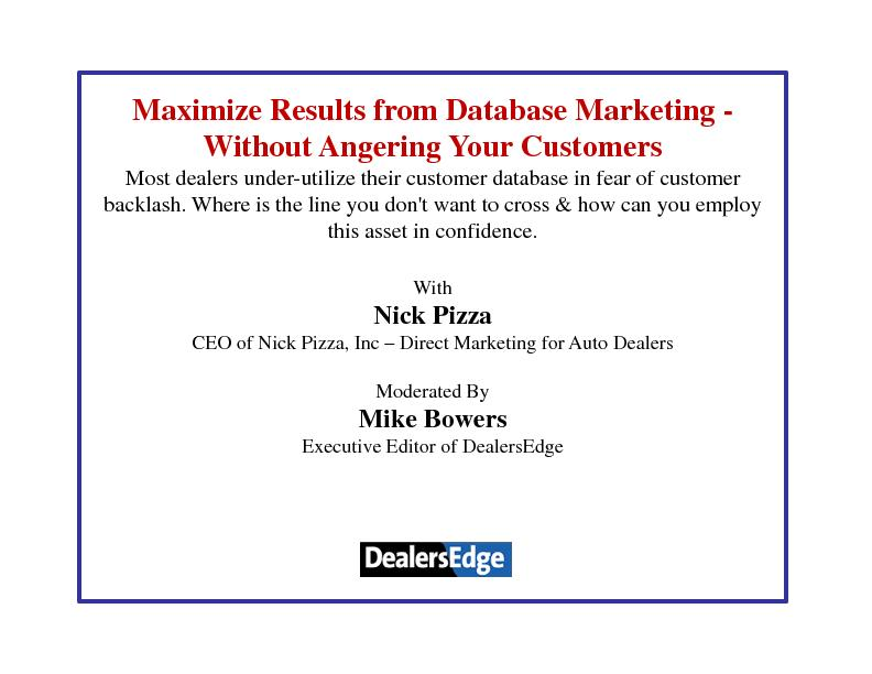 Maximize Results from Database Marketing -Without Angering Your Custom PowerPoint PPT Presentation