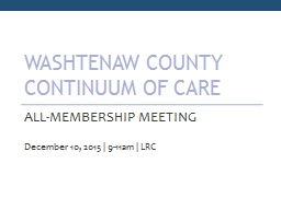Washtenaw County Continuum of Care