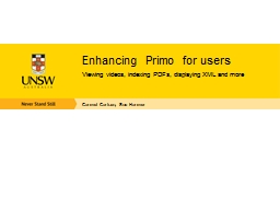 Enhancing Primo for users