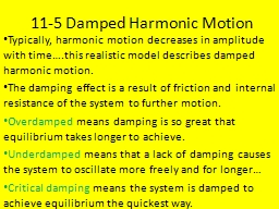 11-5 Damped Harmonic Motion PowerPoint PPT Presentation