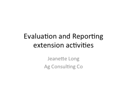 Evaluation and Reporting PowerPoint PPT Presentation