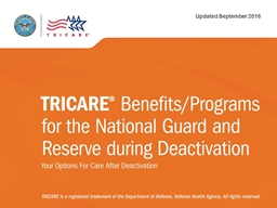 TRICARE® Benefits/Program for the National Guard and Reser