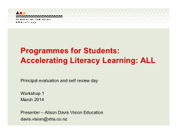 Programmes for Students: Accelerating Literacy Learning: AL