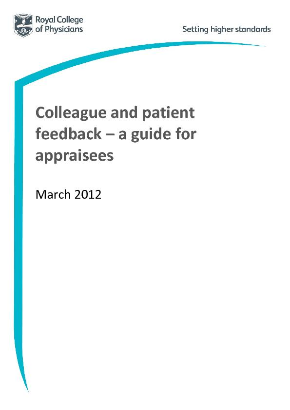 Colleague and patient feedback a guide for appraiseesMarch 2012 ...