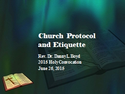 Church Protocol and Etiquette