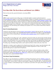 US Department of Labor Wage and Hour Division April  Fact Sheet  The DavisBa con and Related Acts DBRA This fact sheet provides genera l information concerning DBRA